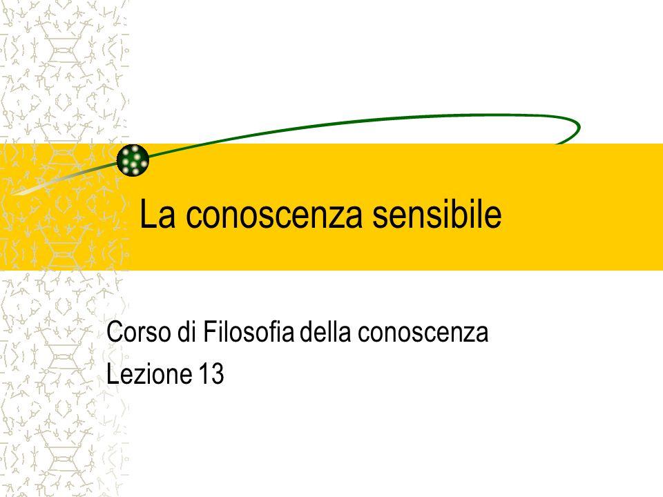 La conoscenza sensibile Corso di Filosofia della conoscenza Lezione 13