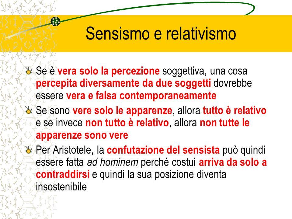 Sensismo e relativismo Se è vera solo la percezione soggettiva, una cosa percepita diversamente da due soggetti dovrebbe essere vera e falsa contempor