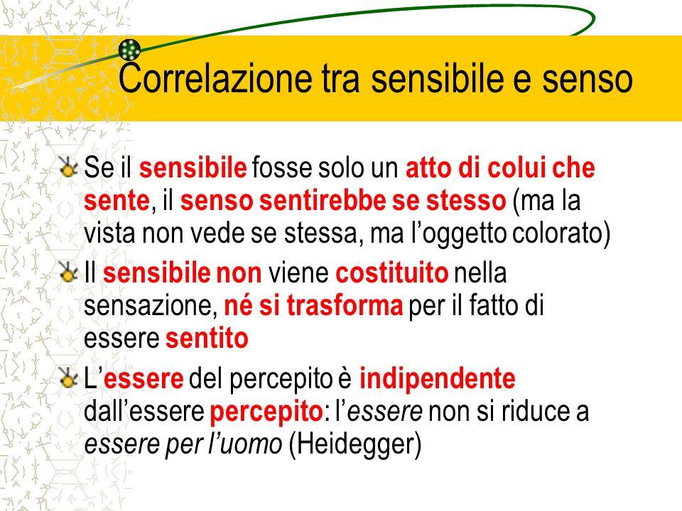 Correlazione tra sensibile e senso Se il sensibile fosse solo un atto di colui che sente, il senso sentirebbe se stesso (ma la vista non vede se stess