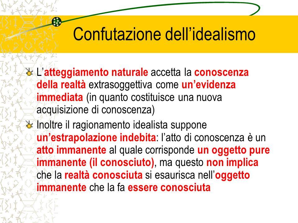 Confutazione dellidealismo L atteggiamento naturale accetta la conoscenza della realtà extrasoggettiva come unevidenza immediata (in quanto costituisc