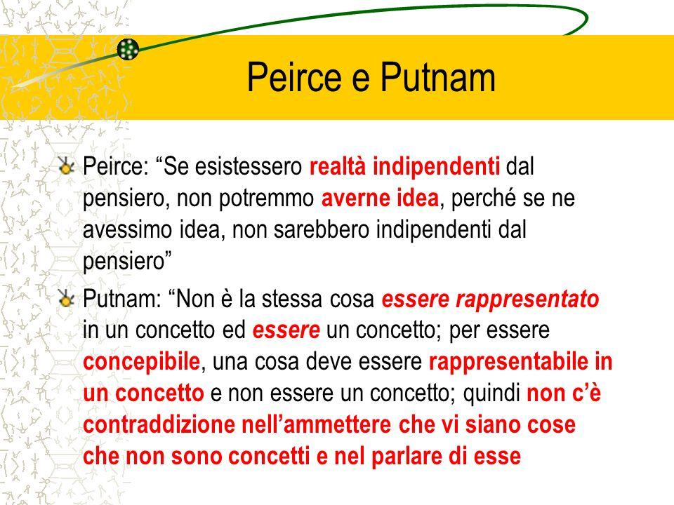 Peirce e Putnam Peirce: Se esistessero realtà indipendenti dal pensiero, non potremmo averne idea, perché se ne avessimo idea, non sarebbero indipende