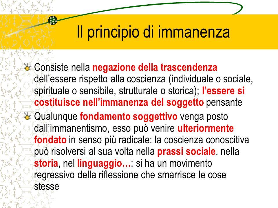 Il principio di immanenza Consiste nella negazione della trascendenza dellessere rispetto alla coscienza (individuale o sociale, spirituale o sensibil