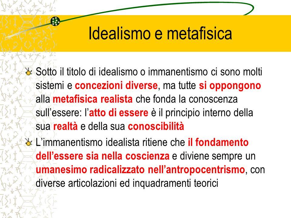 Idealismo e metafisica Sotto il titolo di idealismo o immanentismo ci sono molti sistemi e concezioni diverse, ma tutte si oppongono alla metafisica r