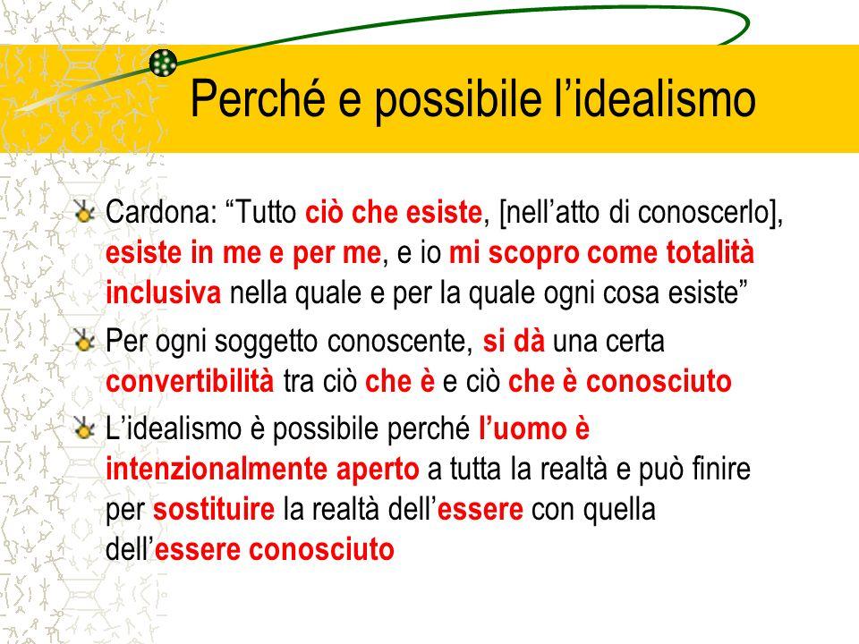 Perché e possibile lidealismo Cardona: Tutto ciò che esiste, [nellatto di conoscerlo], esiste in me e per me, e io mi scopro come totalità inclusiva n