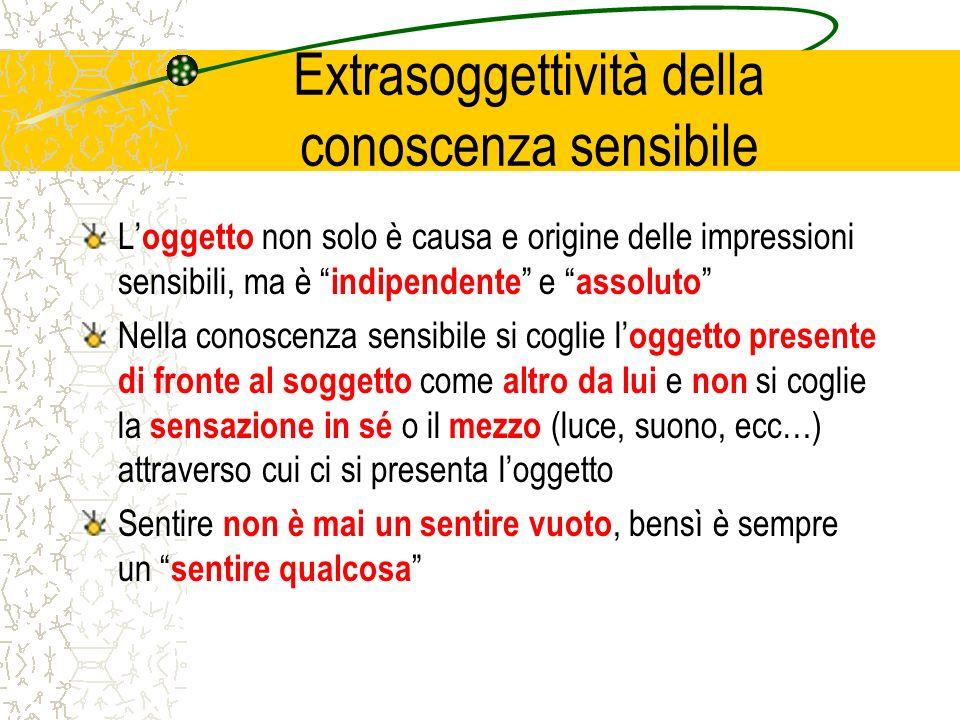 Extrasoggettività della conoscenza sensibile L oggetto non solo è causa e origine delle impressioni sensibili, ma è indipendente e assoluto Nella cono