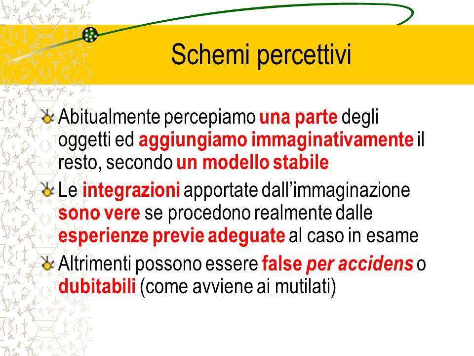 Schemi percettivi Abitualmente percepiamo una parte degli oggetti ed aggiungiamo immaginativamente il resto, secondo un modello stabile Le integrazion