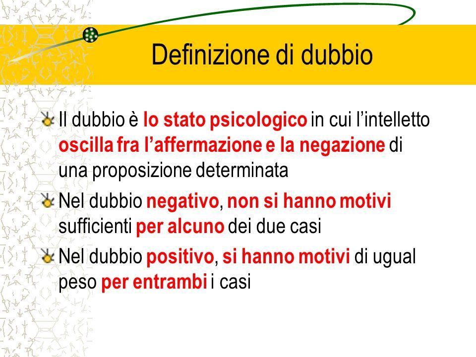 Definizione di dubbio Il dubbio è lo stato psicologico in cui lintelletto oscilla fra laffermazione e la negazione di una proposizione determinata Nel