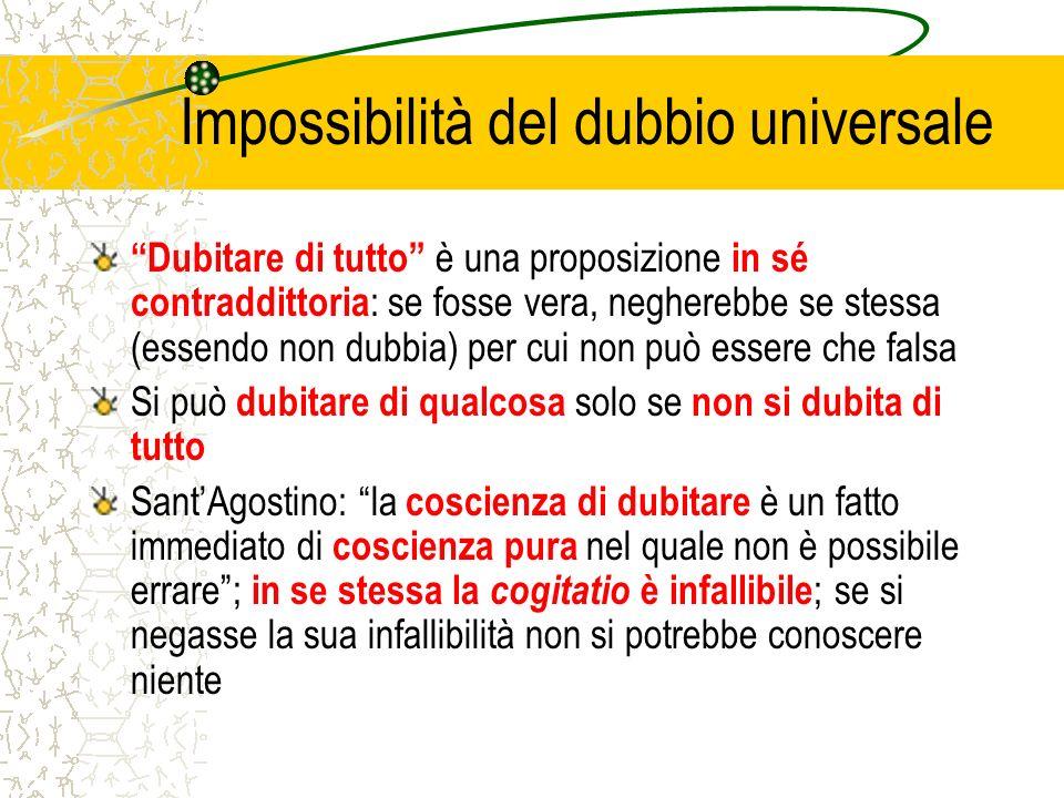 Impossibilità del dubbio universale Dubitare di tutto è una proposizione in sé contraddittoria : se fosse vera, negherebbe se stessa (essendo non dubb