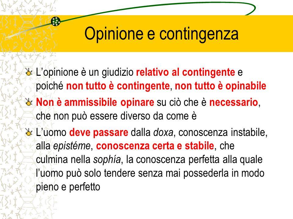 Opinione e contingenza Lopinione è un giudizio relativo al contingente e poiché non tutto è contingente, non tutto è opinabile Non è ammissibile opina