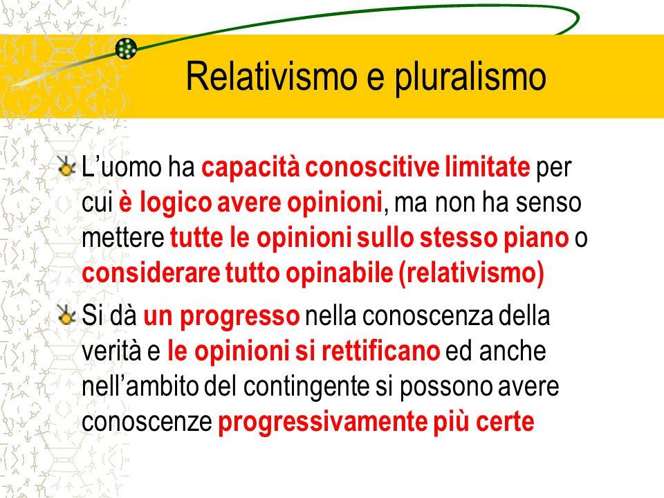 Relativismo e pluralismo Luomo ha capacità conoscitive limitate per cui è logico avere opinioni, ma non ha senso mettere tutte le opinioni sullo stess