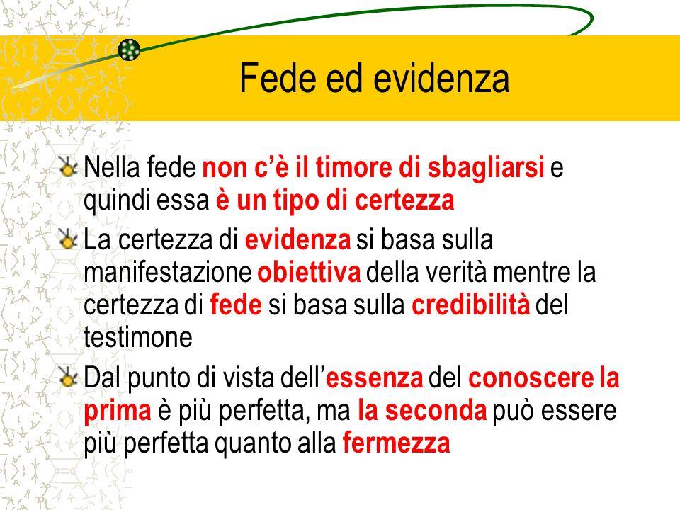 Fede ed evidenza Nella fede non cè il timore di sbagliarsi e quindi essa è un tipo di certezza La certezza di evidenza si basa sulla manifestazione ob