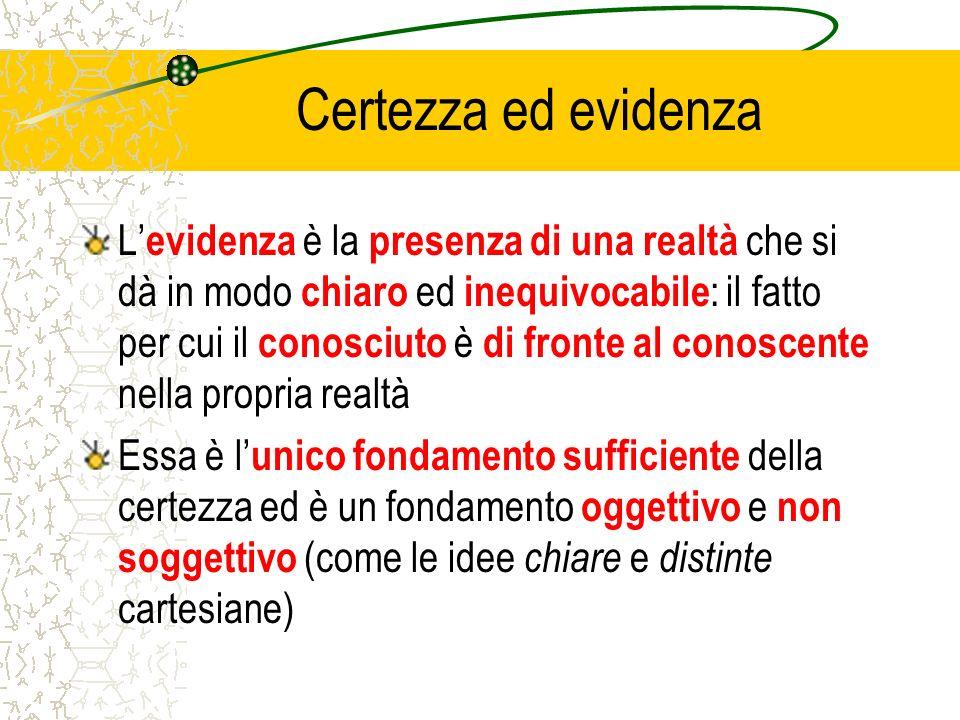 Certezza ed evidenza L evidenza è la presenza di una realtà che si dà in modo chiaro ed inequivocabile : il fatto per cui il conosciuto è di fronte al