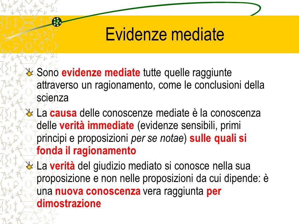 Evidenze mediate Sono evidenze mediate tutte quelle raggiunte attraverso un ragionamento, come le conclusioni della scienza La causa delle conoscenze