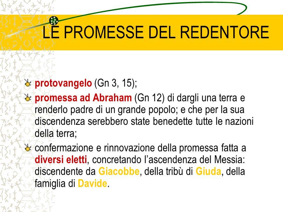 LE PROMESSE DEL REDENTORE protovangelo (Gn 3, 15); promessa ad Abraham (Gn 12) di dargli una terra e renderlo padre di un grande popolo; e che per la