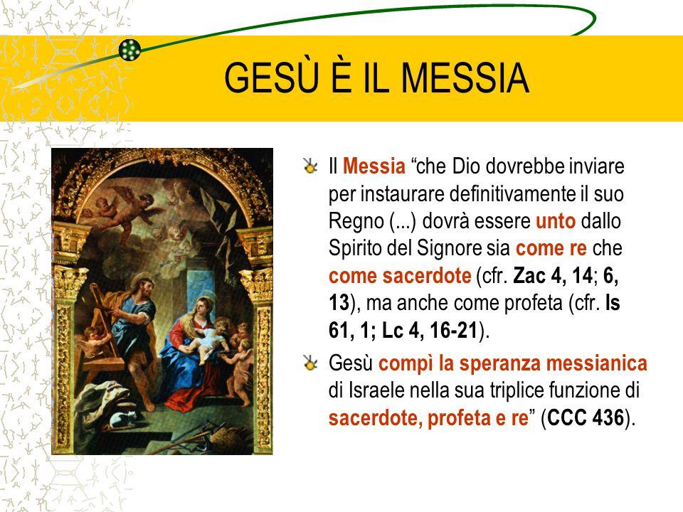 GESÙ È IL MESSIA Il Messia che Dio dovrebbe inviare per instaurare definitivamente il suo Regno (...) dovrà essere unto dallo Spirito del Signore sia