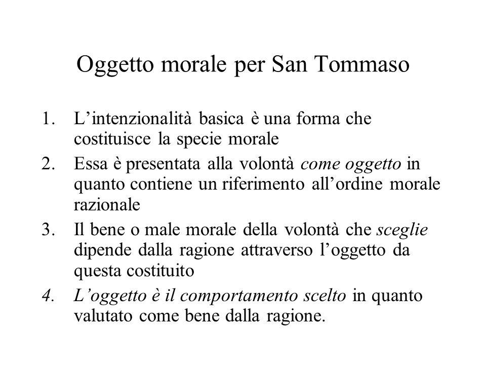 Oggetto morale per San Tommaso 1.Lintenzionalità basica è una forma che costituisce la specie morale 2.Essa è presentata alla volontà come oggetto in