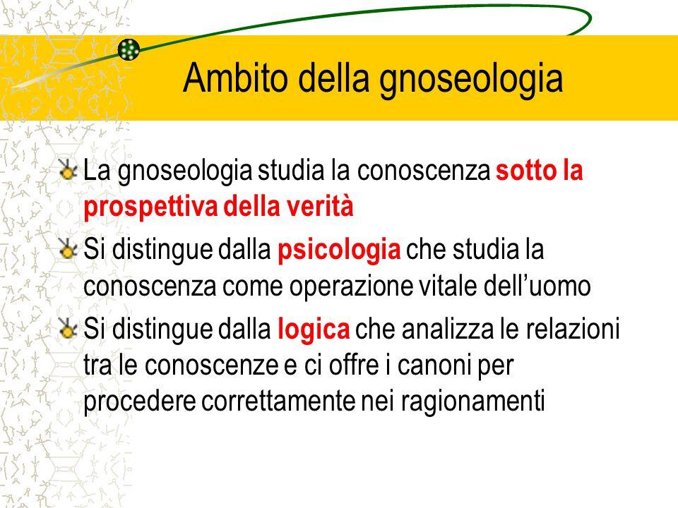 Ambito della gnoseologia La gnoseologia studia la conoscenza sotto la prospettiva della verità Si distingue dalla psicologia che studia la conoscenza