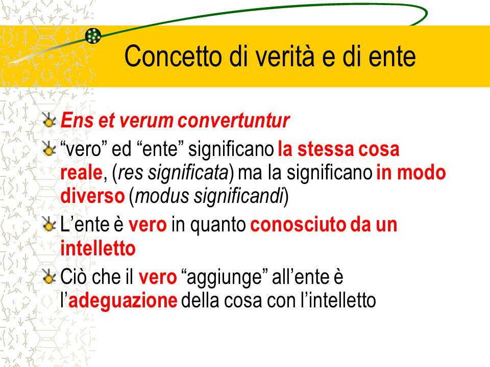 Concetto di verità e di ente Ens et verum convertuntur vero ed ente significano la stessa cosa reale, ( res significata ) ma la significano in modo di