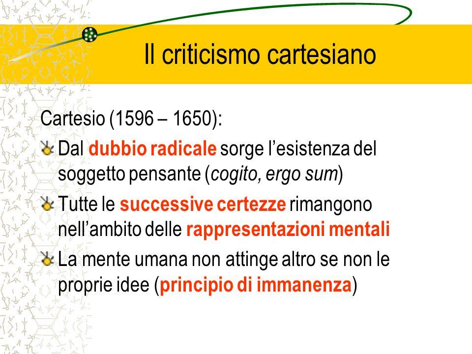 Il criticismo cartesiano Cartesio (1596 – 1650): Dal dubbio radicale sorge lesistenza del soggetto pensante ( cogito, ergo sum ) Tutte le successive c