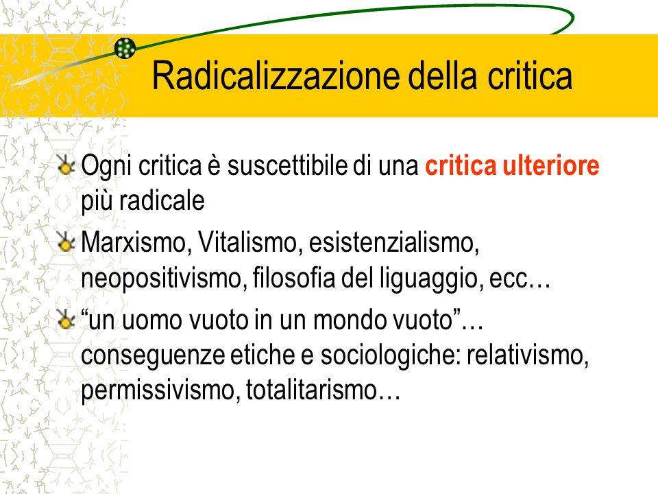 Radicalizzazione della critica Ogni critica è suscettibile di una critica ulteriore più radicale Marxismo, Vitalismo, esistenzialismo, neopositivismo,
