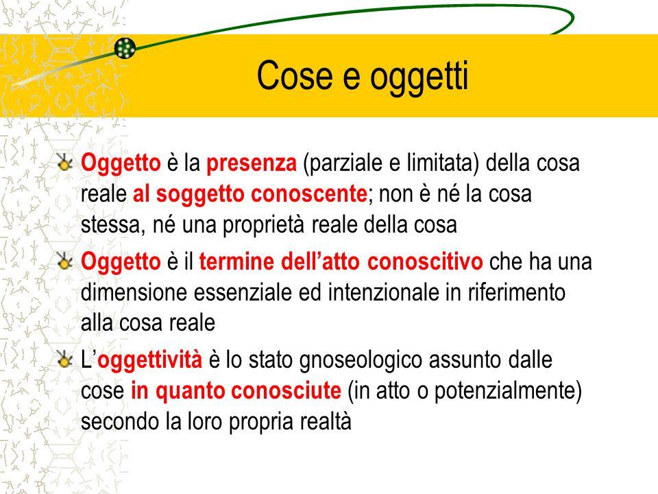Cose e oggetti Oggetto è la presenza (parziale e limitata) della cosa reale al soggetto conoscente ; non è né la cosa stessa, né una proprietà reale d