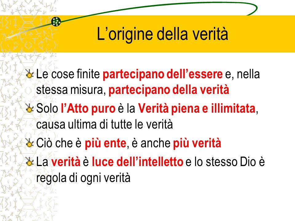 Lorigine della verità Le cose finite partecipano dellessere e, nella stessa misura, partecipano della verità Solo lAtto puro è la Verità piena e illim