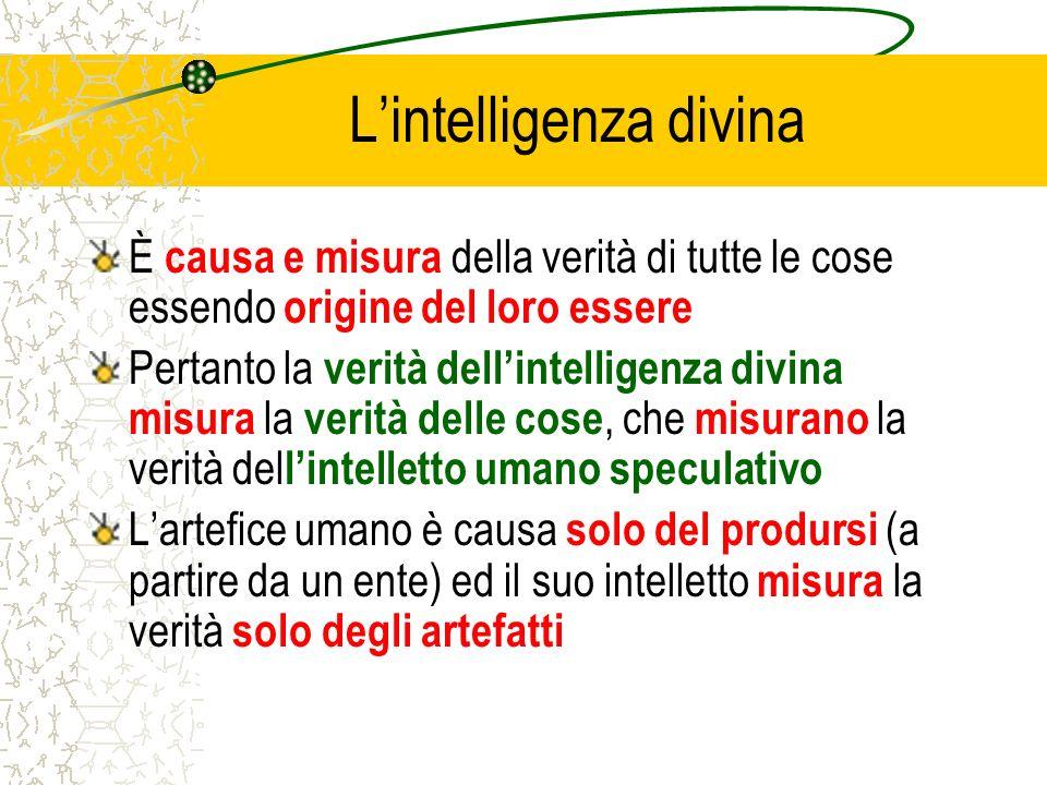 Lintelligenza divina È causa e misura della verità di tutte le cose essendo origine del loro essere Pertanto la verità dellintelligenza divina misura