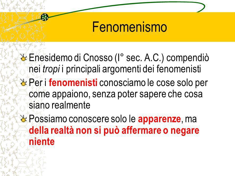 Fenomenismo Enesidemo di Cnosso (I° sec.