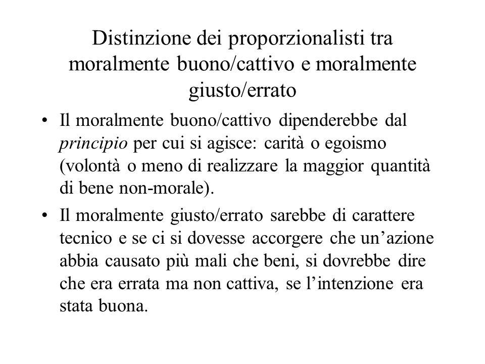 Distinzione dei proporzionalisti tra moralmente buono/cattivo e moralmente giusto/errato Il moralmente buono/cattivo dipenderebbe dal principio per cui si agisce: carità o egoismo (volontà o meno di realizzare la maggior quantità di bene non-morale).