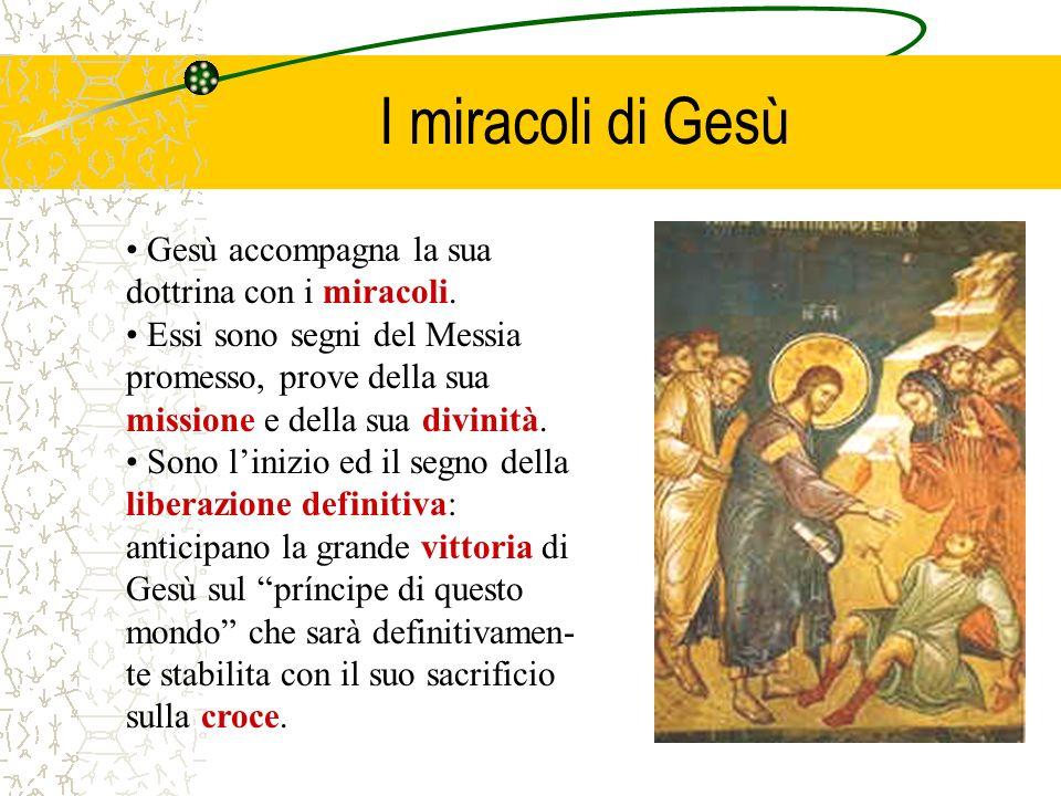 I miracoli di Gesù Gesù accompagna la sua dottrina con i miracoli. Essi sono segni del Messia promesso, prove della sua missione e della sua divinità.