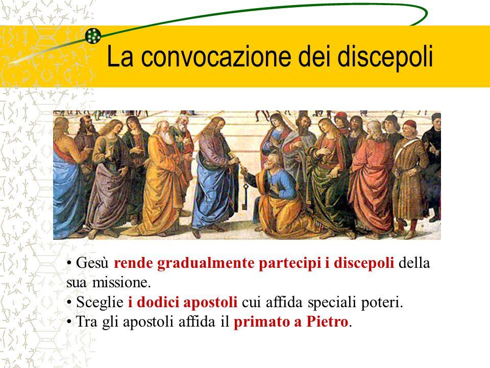 La convocazione dei discepoli Gesù rende gradualmente partecipi i discepoli della sua missione. Sceglie i dodici apostoli cui affida speciali poteri.