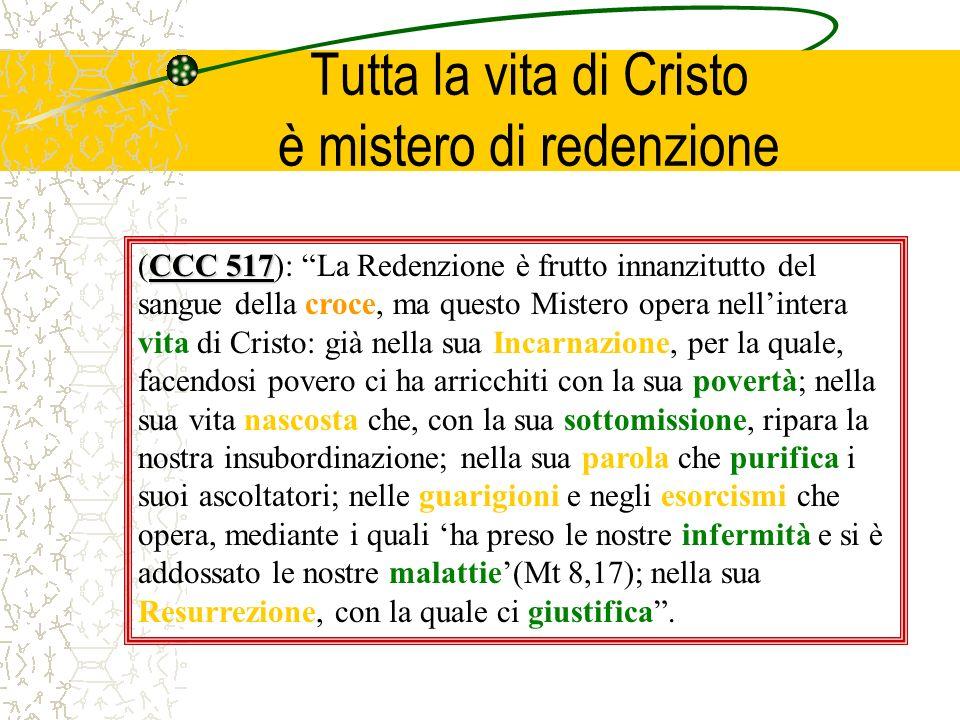 Tutta la vita di Cristo è mistero di redenzione Tutti gli atti di Cristo ci rivelano Dio e il suo disegno salvifico.