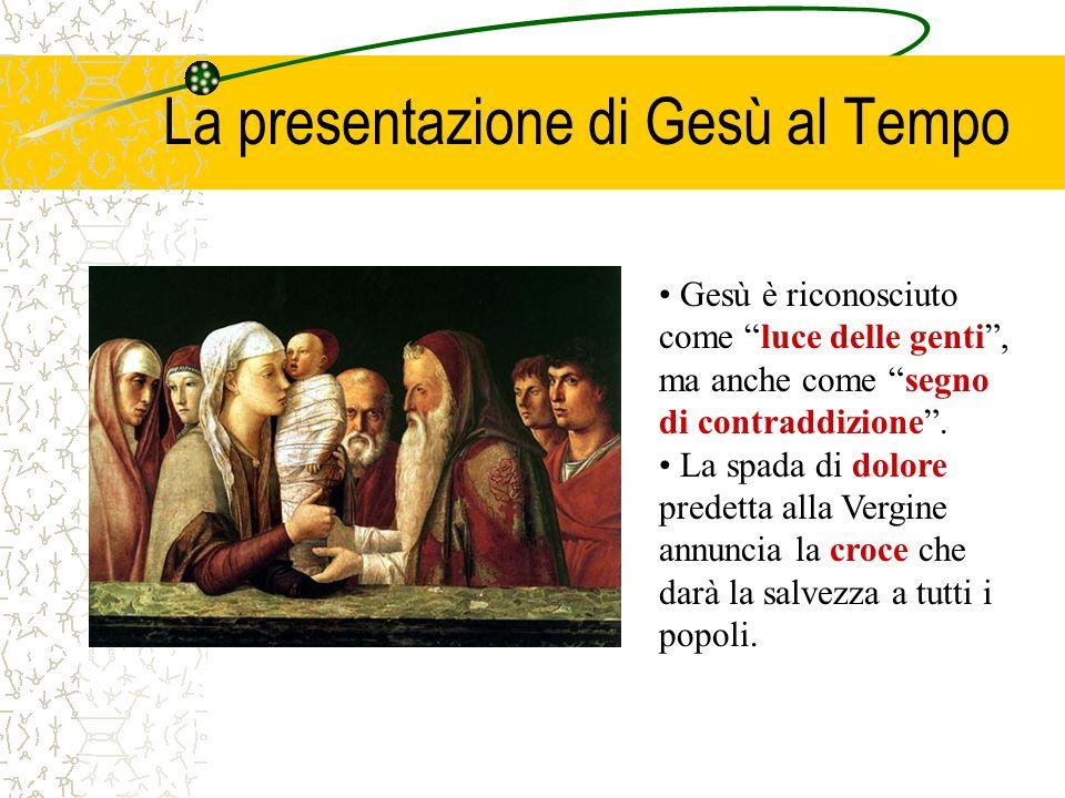 La presentazione di Gesù al Tempo Gesù è riconosciuto come luce delle genti, ma anche come segno di contraddizione. La spada di dolore predetta alla V
