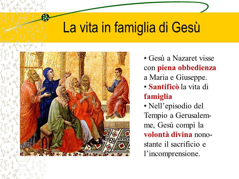 La vita in famiglia di Gesù Gesù a Nazaret visse con piena obbedienza a Maria e Giuseppe. Santificò la vita di famiglia Nellepisodio del Tempio a Geru