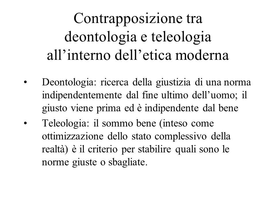 Contrapposizione tra deontologia e teleologia allinterno delletica moderna Deontologia: ricerca della giustizia di una norma indipendentemente dal fin