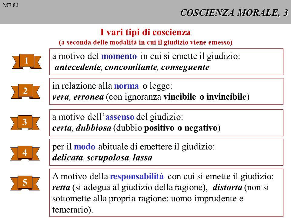 COSCIENZA MORALE, 4 Principi morali che determinano il retto agire, 1 1 È necessario agire sempre con una coscienza vera.