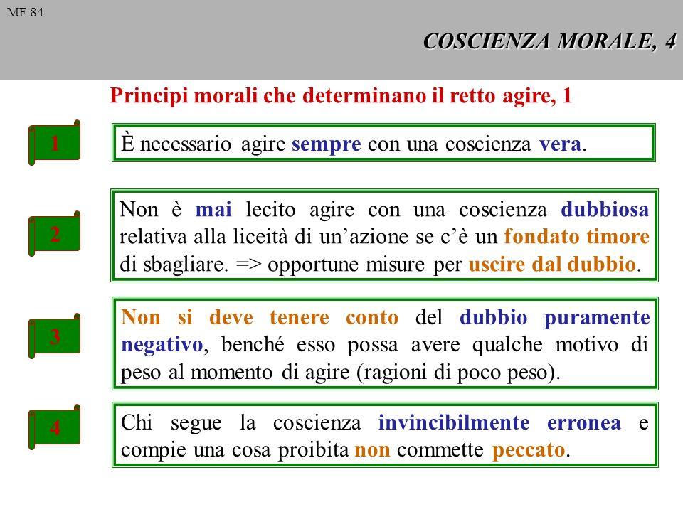 COSCIENZA MORALE, 5 5 La coscienza invincibilmente erronea deve essere seguita in ciò che comanda o proibisce, altrimenti si agirebbe contro coscienza e si peccherebbe.