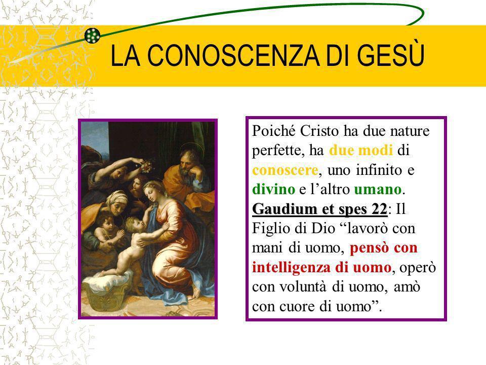 LA CONOSCENZA DI GESÙ Poiché Cristo ha due nature perfette, ha due modi di conoscere, uno infinito e divino e laltro umano. Gaudium et spes 22 Gaudium