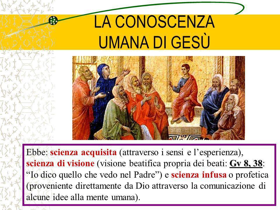 LA CONOSCENZA UMANA DI GESÙ Gv 8, 38 Ebbe: scienza acquisita (attraverso i sensi e lesperienza), scienza di visione (visione beatifica propria dei bea