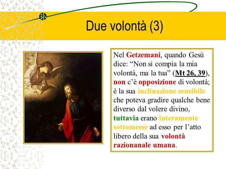 Due volontà (3) Mt 26, 39 Nel Getzemani, quando Gesù dice: Non si compia la mia volontà, ma la tua (Mt 26, 39), non cè opposizione di volontà; è la su