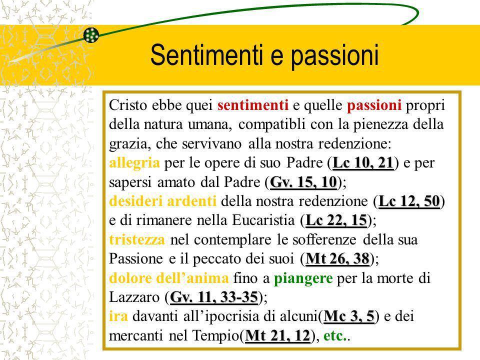 Sentimenti e passioni Cristo ebbe quei sentimenti e quelle passioni propri della natura umana, compatibli con la pienezza della grazia, che servivano