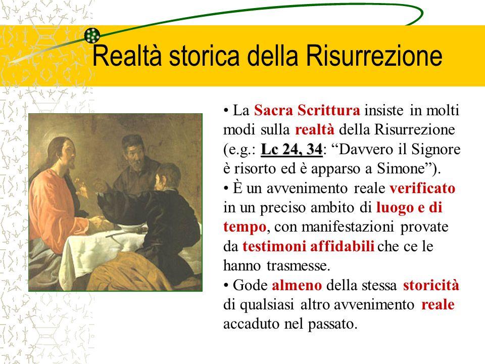 Lc 24, 34 La Sacra Scrittura insiste in molti modi sulla realtà della Risurrezione (e.g.: Lc 24, 34: Davvero il Signore è risorto ed è apparso a Simone).