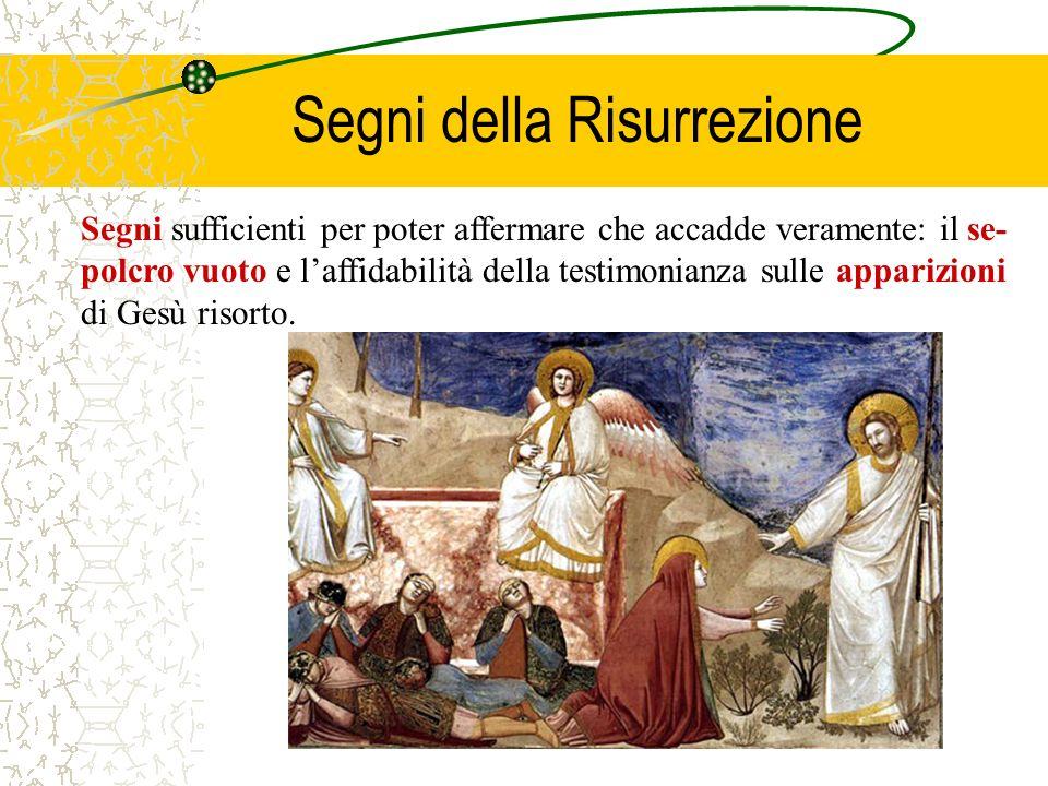 Segni sufficienti per poter affermare che accadde veramente: il se- polcro vuoto e laffidabilità della testimonianza sulle apparizioni di Gesù risorto.