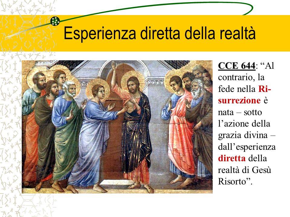 CCE 644 CCE 644: Al contrario, la fede nella Ri- surrezione è nata – sotto lazione della grazia divina – dallesperienza diretta della realtà di Gesù Risorto.