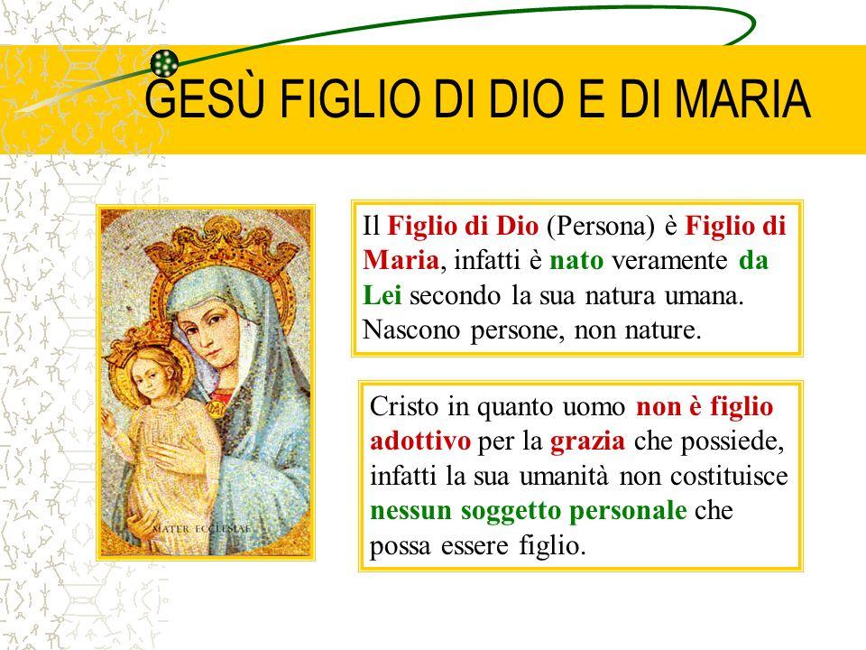 GESÙ FIGLIO DI DIO E DI MARIA Cristo in quanto uomo non è figlio adottivo per la grazia che possiede, infatti la sua umanità non costituisce nessun soggetto personale che possa essere figlio.