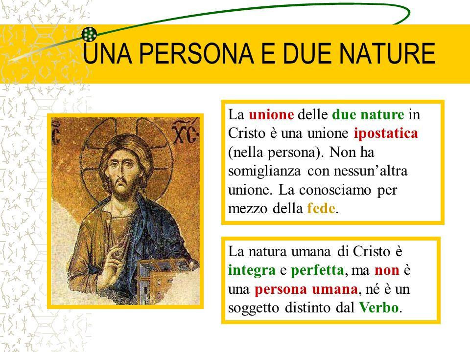 UNA PERSONA E DUE NATURE La unione delle due nature in Cristo è una unione ipostatica (nella persona). Non ha somiglianza con nessunaltra unione. La c