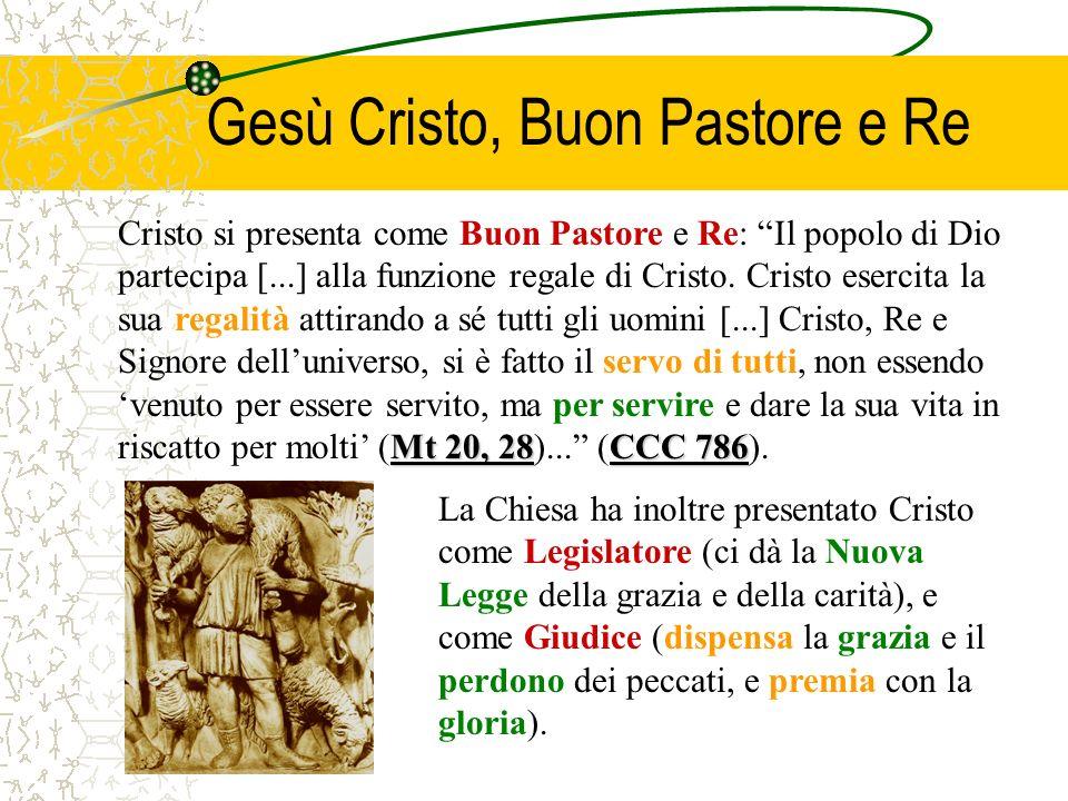 Gesù Cristo, Buon Pastore e Re Mt 20, 28CCC 786 Cristo si presenta come Buon Pastore e Re: Il popolo di Dio partecipa [...] alla funzione regale di Cr