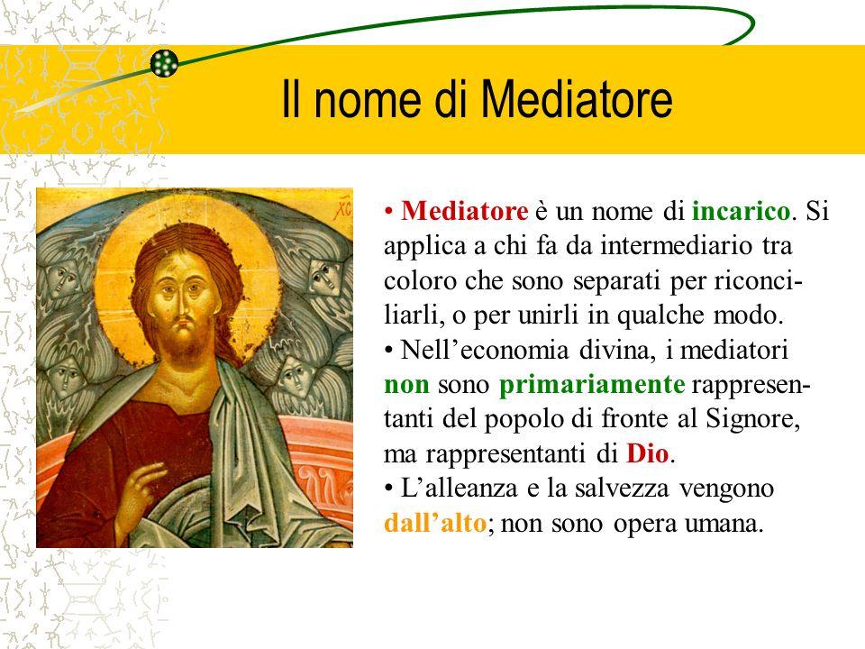 Il nome di Mediatore Mediatore è un nome di incarico. Si applica a chi fa da intermediario tra coloro che sono separati per riconci- liarli, o per uni