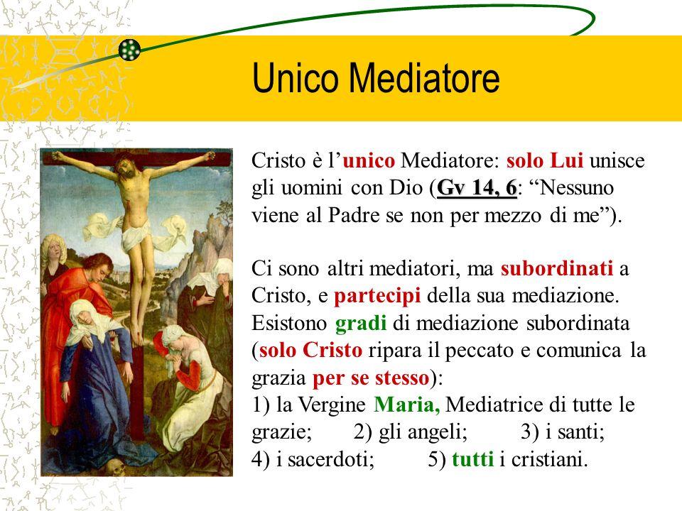 Unico Mediatore Gv 14, 6 Cristo è lunico Mediatore: solo Lui unisce gli uomini con Dio (Gv 14, 6: Nessuno viene al Padre se non per mezzo di me). Ci s