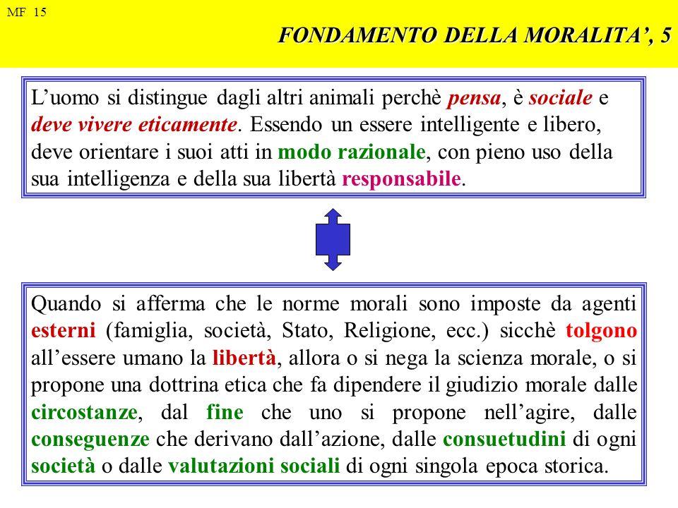 FONDAMENTO DELLA MORALITA, 5 Luomo si distingue dagli altri animali perchè pensa, è sociale e deve vivere eticamente. Essendo un essere intelligente e
